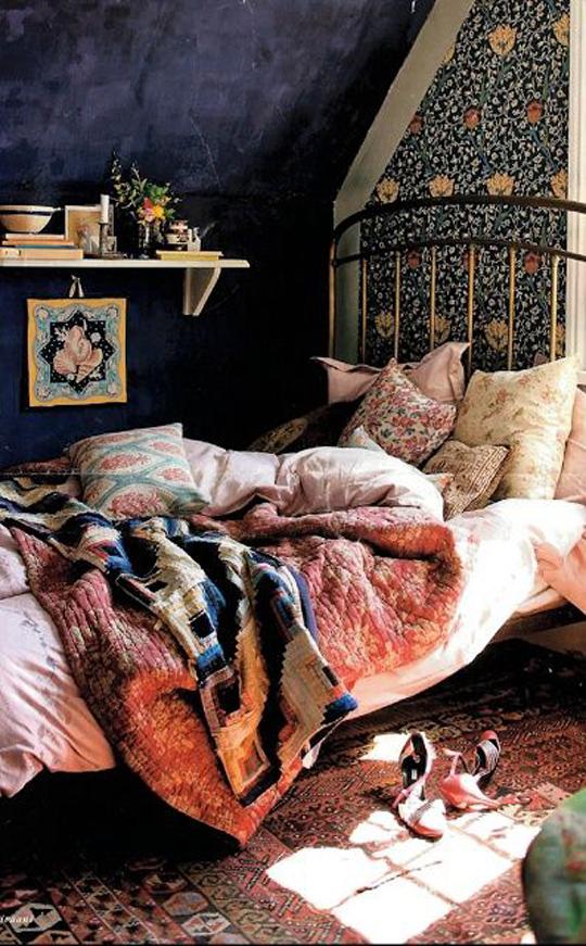 bohemian design attic bedroom