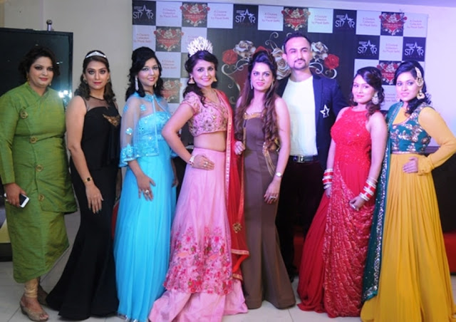 Entrepreneur Ruchiekka Krishnani with Designer Payal Sethi & Celebrity Hair Expert Niell Talwar along with the models at the launch of MEM - A - SAAB, a couture collection by Payal Sethi-min