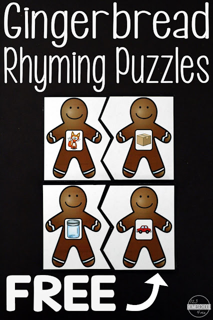 FREE Gingerbread Rhyming Activities - these puzzles are so cute, LOW PREP, and make a great learning activity for preschoolers, kindergarten, preschool, first grade, 2nd, 3rd for students in December