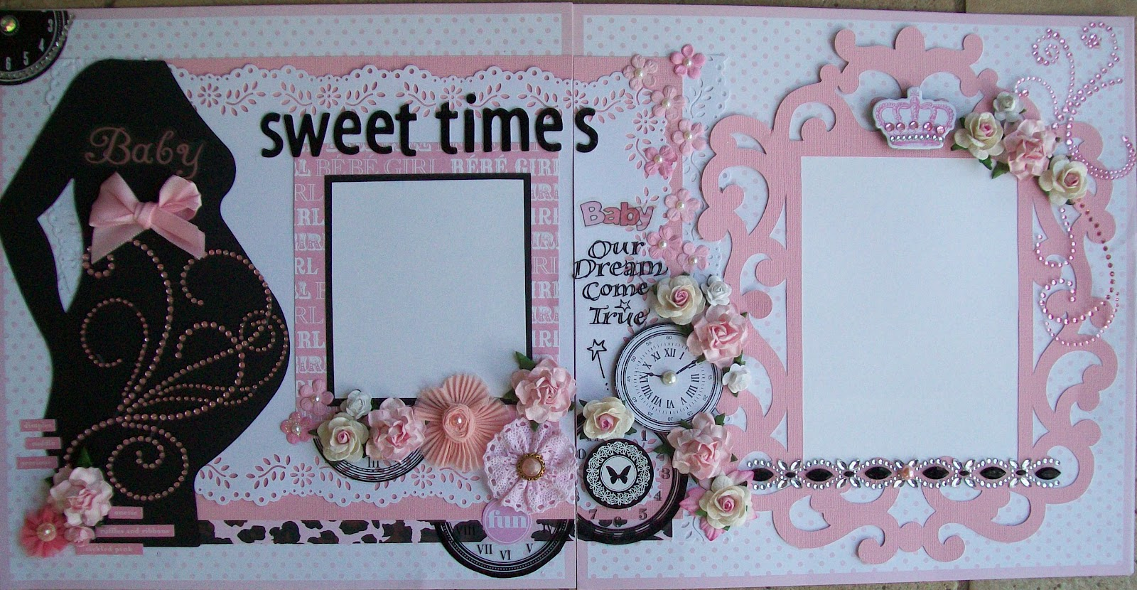 Scrapbook ideas for baby girl - These Are Some Baby Girl Layouts I Did Last Week This First One Is One Of My Favorites The Pregnant Silhouette Is From The Accucut Die And The Large Frame