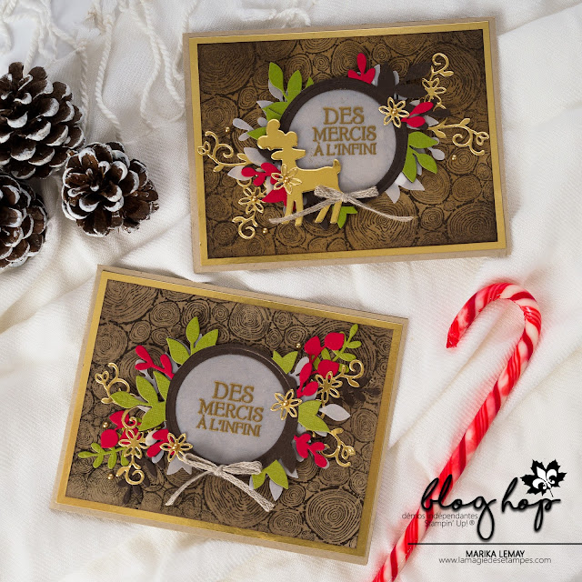 carte de Noël gratitude avec renne fringant Stampin' Up!