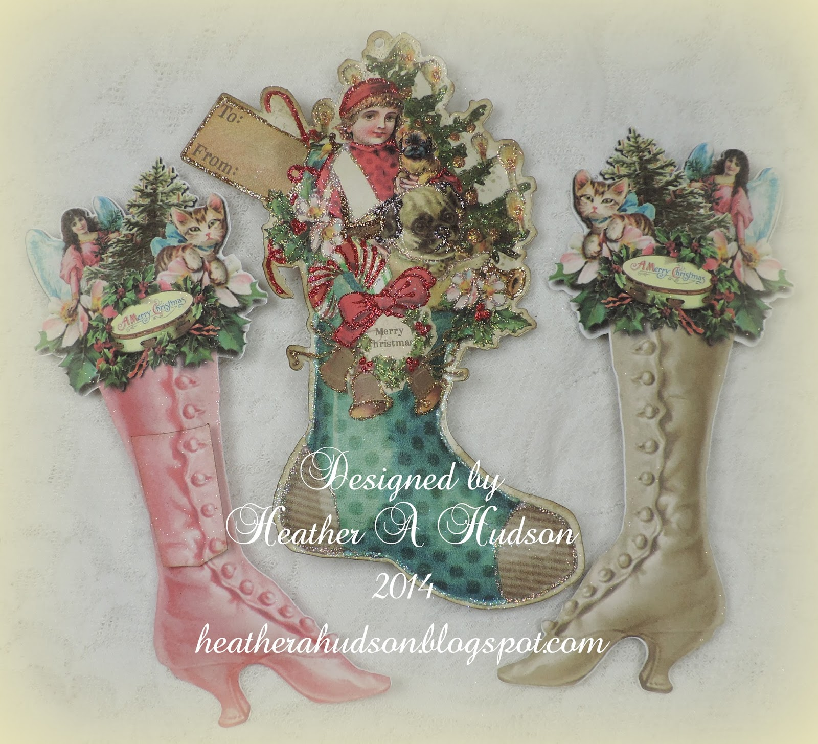 Heather A Hudson Victorian Boy Christmas Stocking Collage