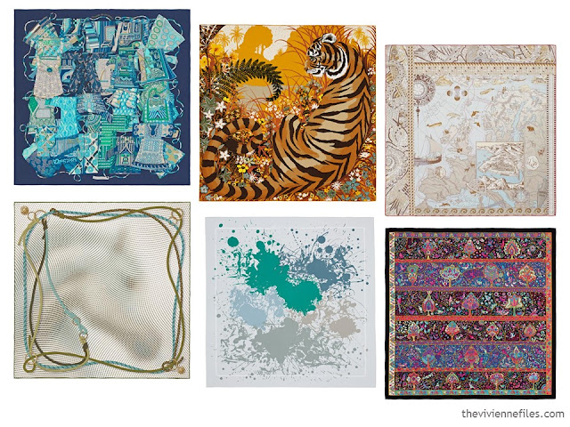 6 Hermes Scarves as inspiration for 12 Months, 12 Outfits in 6 Capsule Wardrobes: April