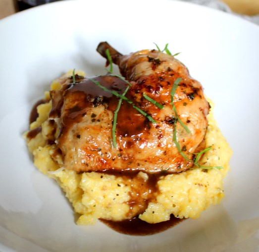ROAST CHICKEN WITH RED WINE DEMI-GLACE AND POLENTA #dinnerparty #weekenddinner