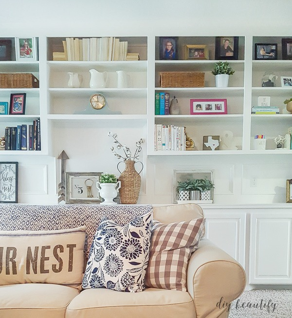 add greenery to bookcase