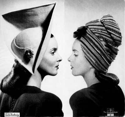 Two models wearing Laddie Northridge designed hats in Life Magazine August 1945