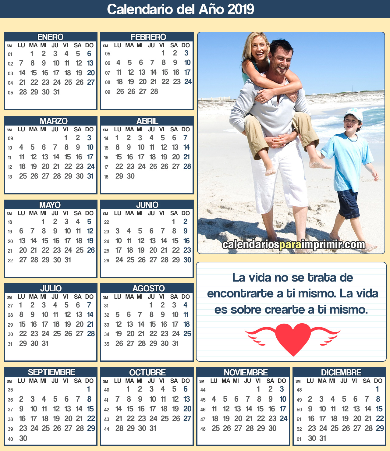 calendario de vida para imprimir 2019