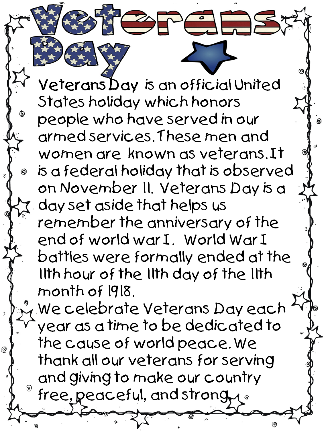 Veterans day facts pdf to excel
