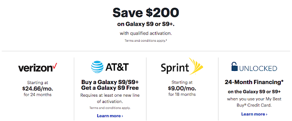 Get $200 off the Samsung Galaxy S9 and S9+ on AT&T, Sprint or Verizon