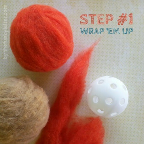 step 1 wrap the plastic wiffle ball with 4 to 5 layers of wool roving