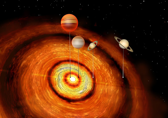 Giant planets around young star raise questions about how planets form