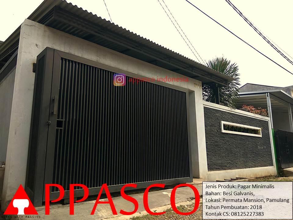 Pagar Minimalis Besi Galvanis Motif Vertikal Rapat di Permata Mansion Pamulang
