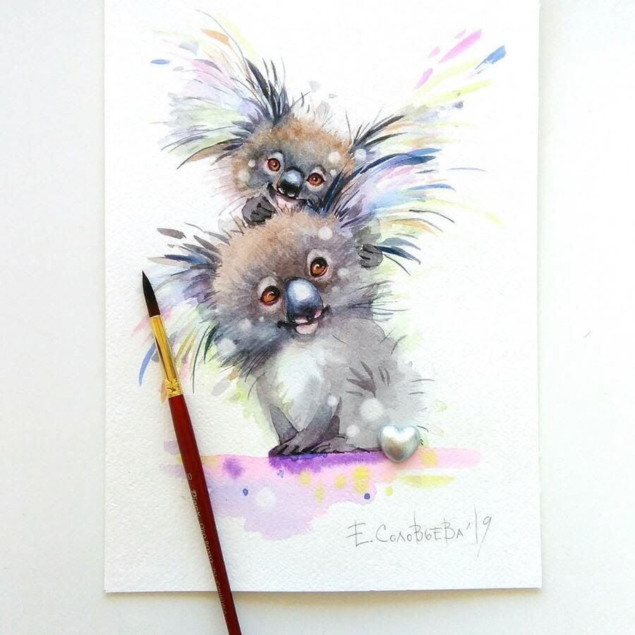 06-Happy-Koalas-Evgeniya-Solovyova-Fantasy-Animals-Watercolor-Paintings-www-designstack-co