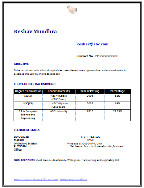 sample resume fresher computer science graduate - Sample Resume For Freshers
