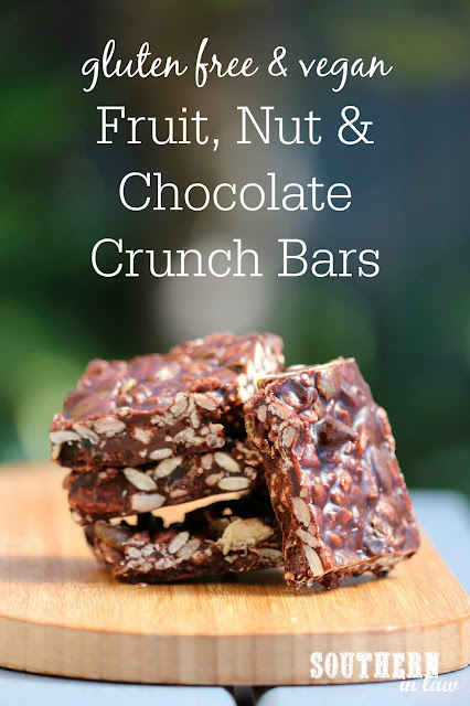 Healthy Fruit Nut and Chocolate Crunch Bars Recipe – no bake, gluten free, vegan, egg free, dairy free, sugar free, clean eating recipe