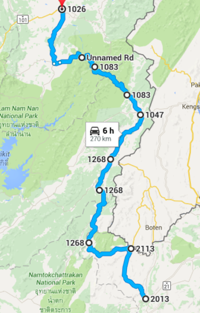 Route from Dan Sai to Nan in North Thailand