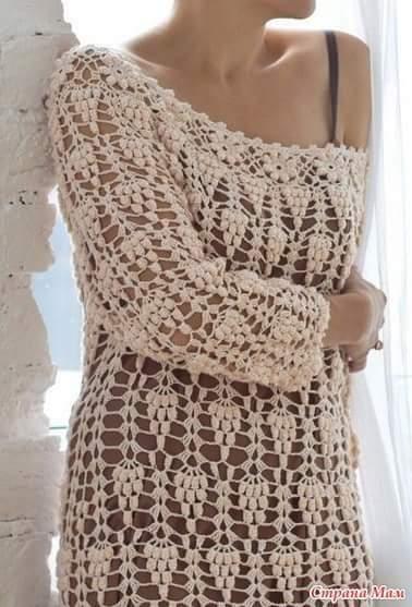 Patrón #1399: Vestido a crochet