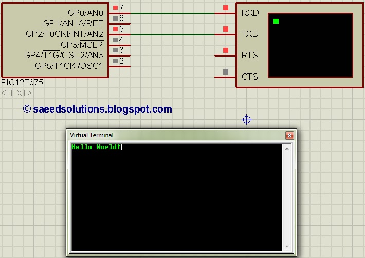 PIC12F675 interrupt based software UART code + Proteus