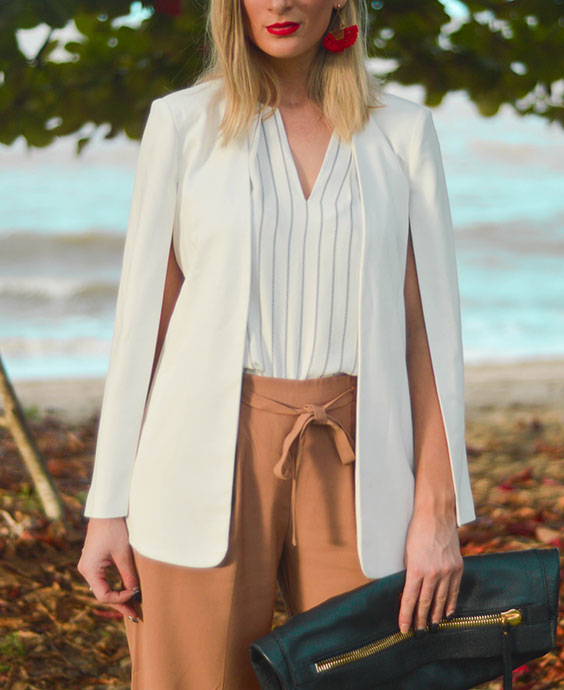 street style outfit details camel tan culottes stripe blouse white cape