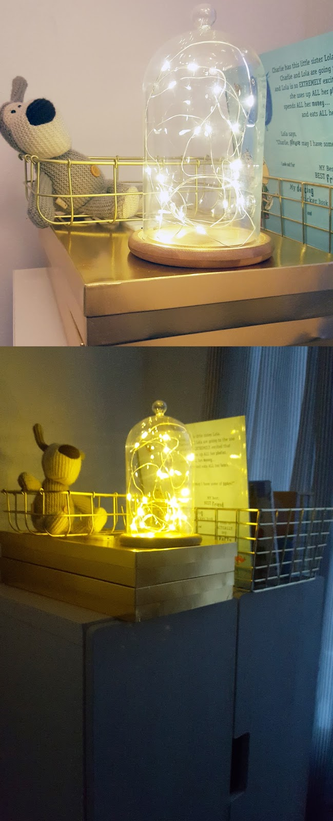 fairy lights in bell jar