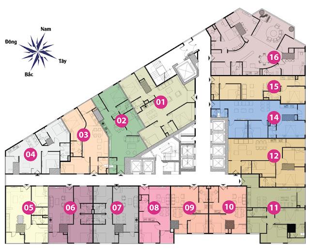 Mặt bằng tầng 3 đến tầng 11 tháp doanh nhân