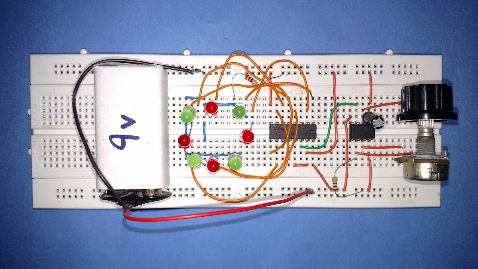 Led Roulette Circuit Diy Astable 555 Timer Ic Flasher Diagram Now We Will Connect The Leds In A Design Circle Shape As Used 8 Which Are Connected By Output Pins Of 4017 According To