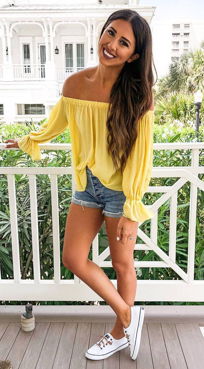 ootd   chiffon off shoulder blouse + denim shorts + white sneakers