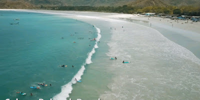 A royalty free of aerial drone shot of Secret selong belanak beach in Lombok best place for surfing