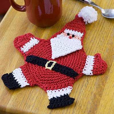 Free Crochet Santa Claus Coaster Pattern : Crochet Treasures: 10 Free Santa Claus Theme Crochet Patterns