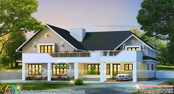 2812 sq-ft sloping roof mix house