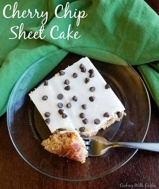 A simple but delicious sheet cherry chip Texas style sheet cake is the perfect way to feed a crowd. It will be a hit at your next party, potluck or BBQ.