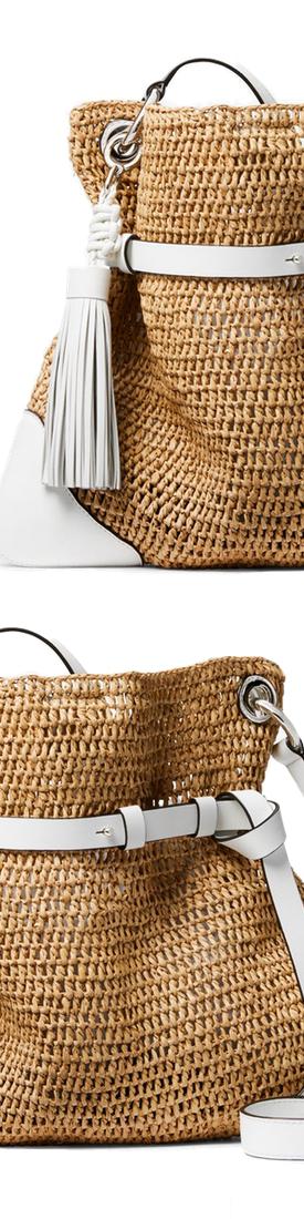 Michael Kors Collection Sedona Raffia Messenger in White Trim and Tassel