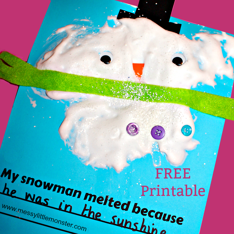 My snowman melted because....An easy melted snowman kids craft and (free) printable writing frame using a simple puffy paint recipe that uses shaving foam and glue. A fun snow or winter art or literacy project for toddlers and preschoolers as well as older kids.