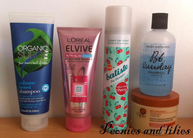 Organic surge shampoo, BB sunday shampoo, L'oreal elvive conditioner, Batiste dry shampoo, Ojon hair mask, aircare, Haircare routine, Organic surge volume boost shampoo, L'oreal elvive nutri gloss crystal intensive conditioner, Batiste cherry dry shampoo, Bumble and bumble sunday shampoo, Ojon dry recovery 2 minute hair mask