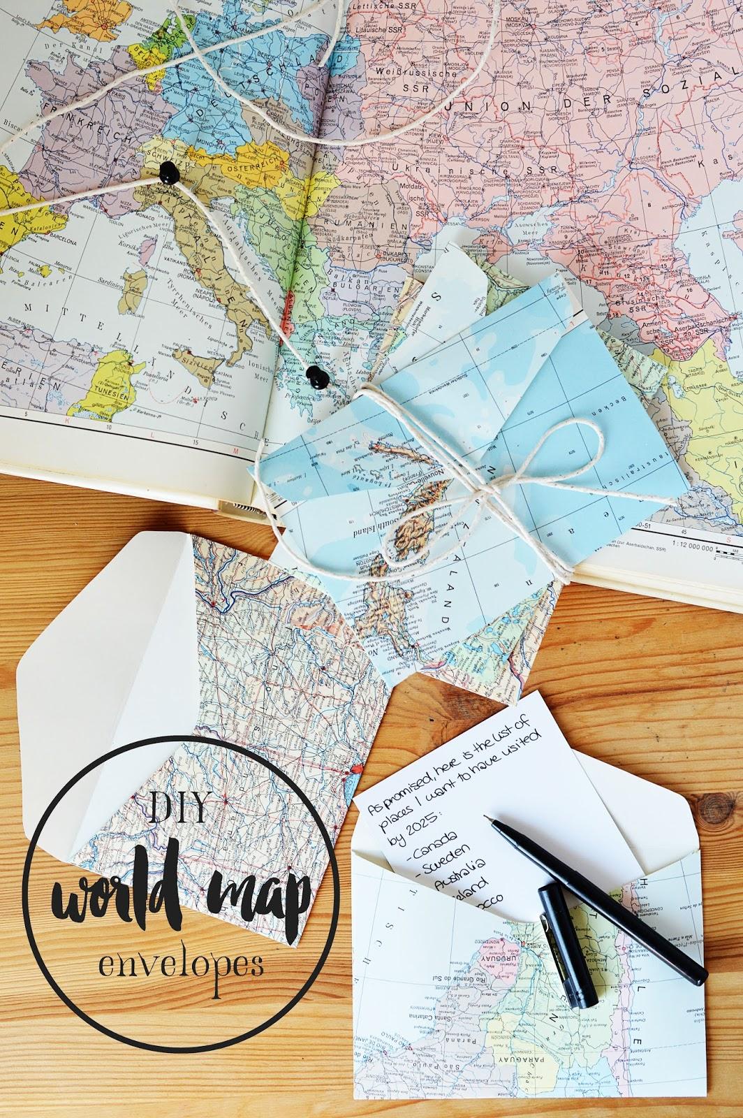 DIY World Map Envelopes | Motte's Blog | Free Template