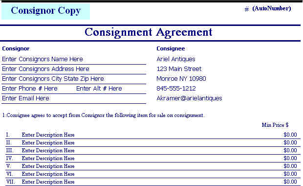 Consignment agreement form templates excel template for Consignment store contract template