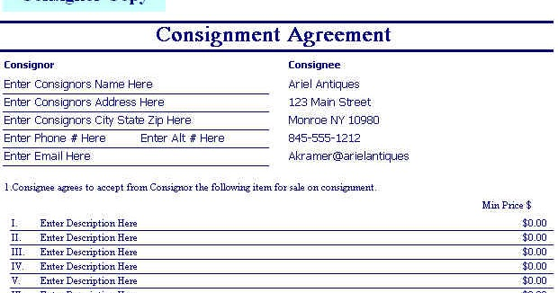 Consignment Agreement Template Example Consignment Agreement - consignment form template