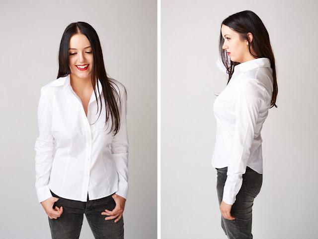 Девушка в белой приталенной рубашке