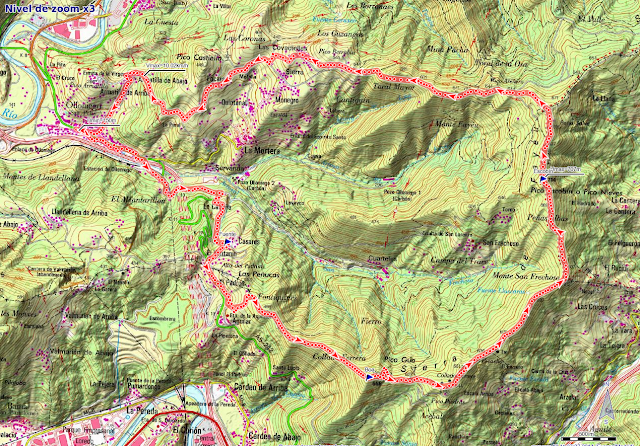 Mapa de la ruta Olloniego, Padrún, Pico Boa y Escobín