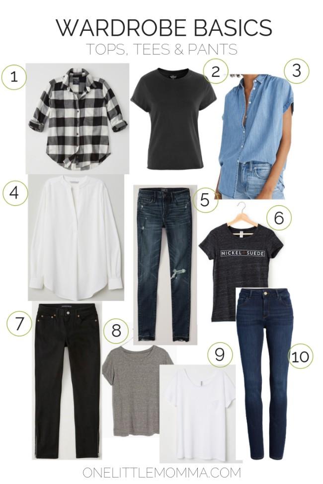 Wardrobe Basics - Tops, Tees & Pants