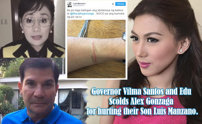 Governor Vilma Santos and Edu Scolds Alex Gonzaga for hurting their Son Luis Manzano.