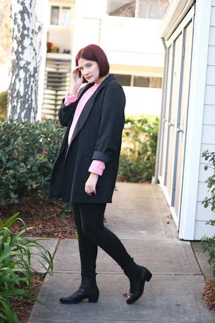 designer outfit, fashion blogger, & other stories, pink sweater