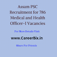 Assam PSC Recruitment for 786 Medical and Health Officer-I Vacancies