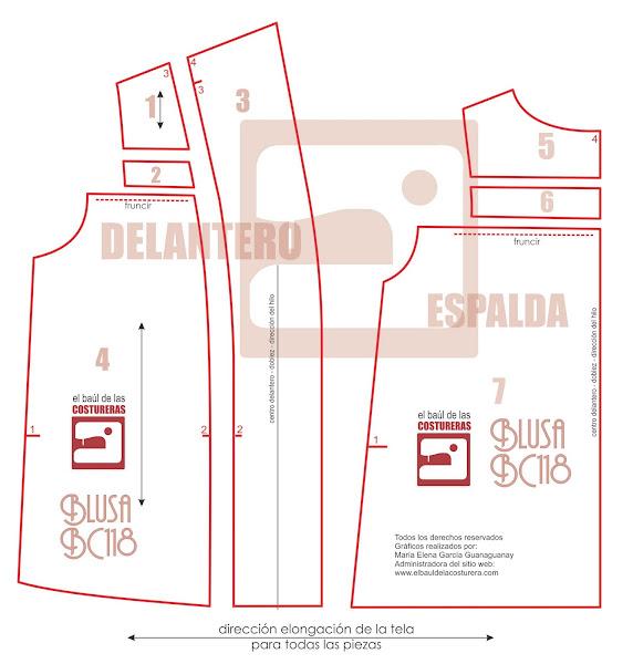 Molde Costura trazado Espalda Tapadito Chaleco moda verano primavera Despiece del Molde Baul Costurera