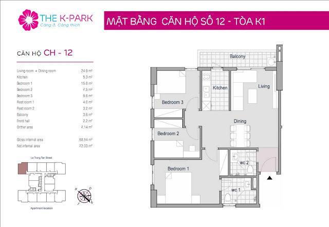 Thiết kế căn hộ số 12 tòa k1