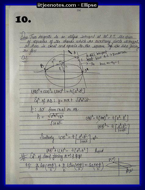 ellipse notes cbse
