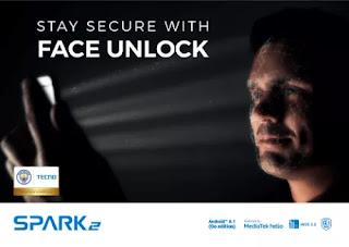 tecno spark 2 camere face unlock feature