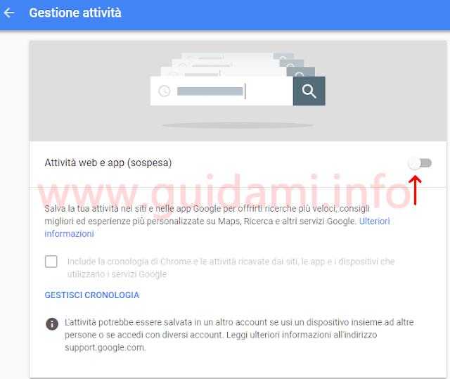 Pagina web Gestione attività Google disattivare Attività web e app