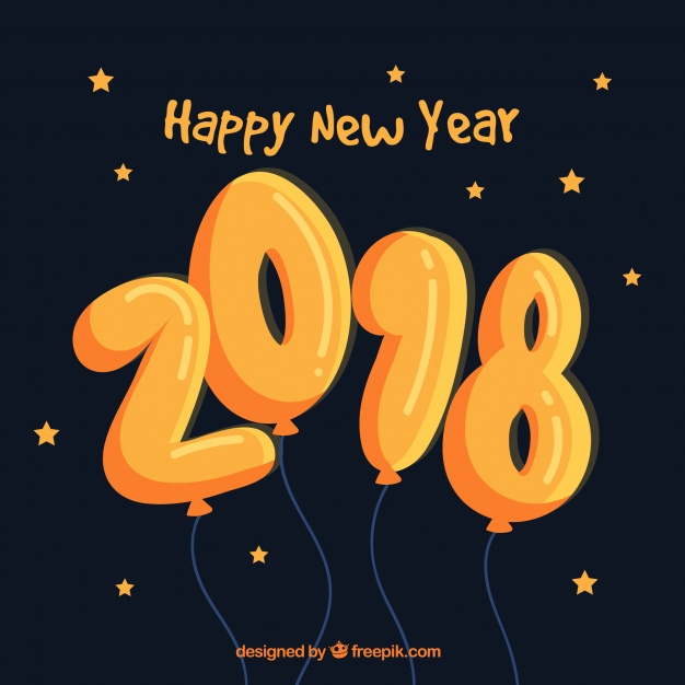 Hand drawn happy new year 2018 with orange balloons Free Vector
