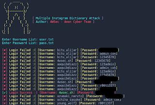 Insta Fuck3r Mass Dictionary Attack